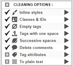 html source cleaning options