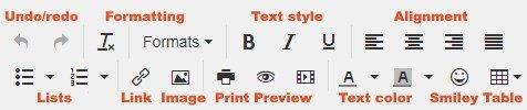 html editor tools toolbar